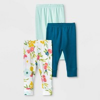 Baby Girls' 3pc Floral Fields Leggings - Cloud Island™ Mint Green