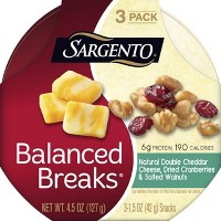 Sargento Balanced Breaks Double Cheddar Cheese, Cranberries & Walnuts Snack Cups - 3pk
