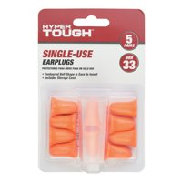 Hyper Tough Single-Use Foam Earplugs - 5 Pair Pack with Case