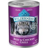 (12 pack) Blue Buffalo Wilderness Grain Free Beef & Chicken Grill Adult Canned Wet Dog Food, 12.5 Oz.