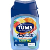 TUMS Smoothies Assorted Fruit Extra StrengthAntacid Chewable Tablets for Heartburn Relief, 12 Tablets