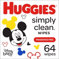 Huggies Baby Wipes Simply Clean Fragrance-Free Soft Pack, 64 Ct