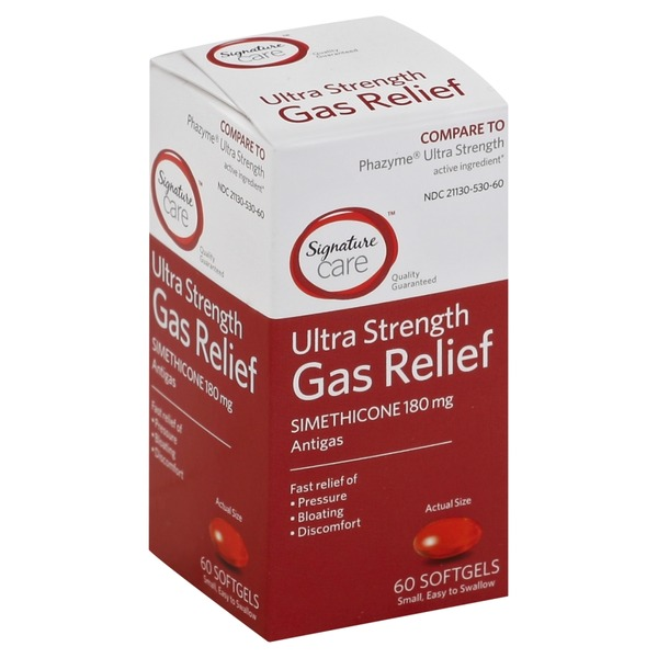 Signature Gas Relief, Ultra Strength, 180 mg, Softgels