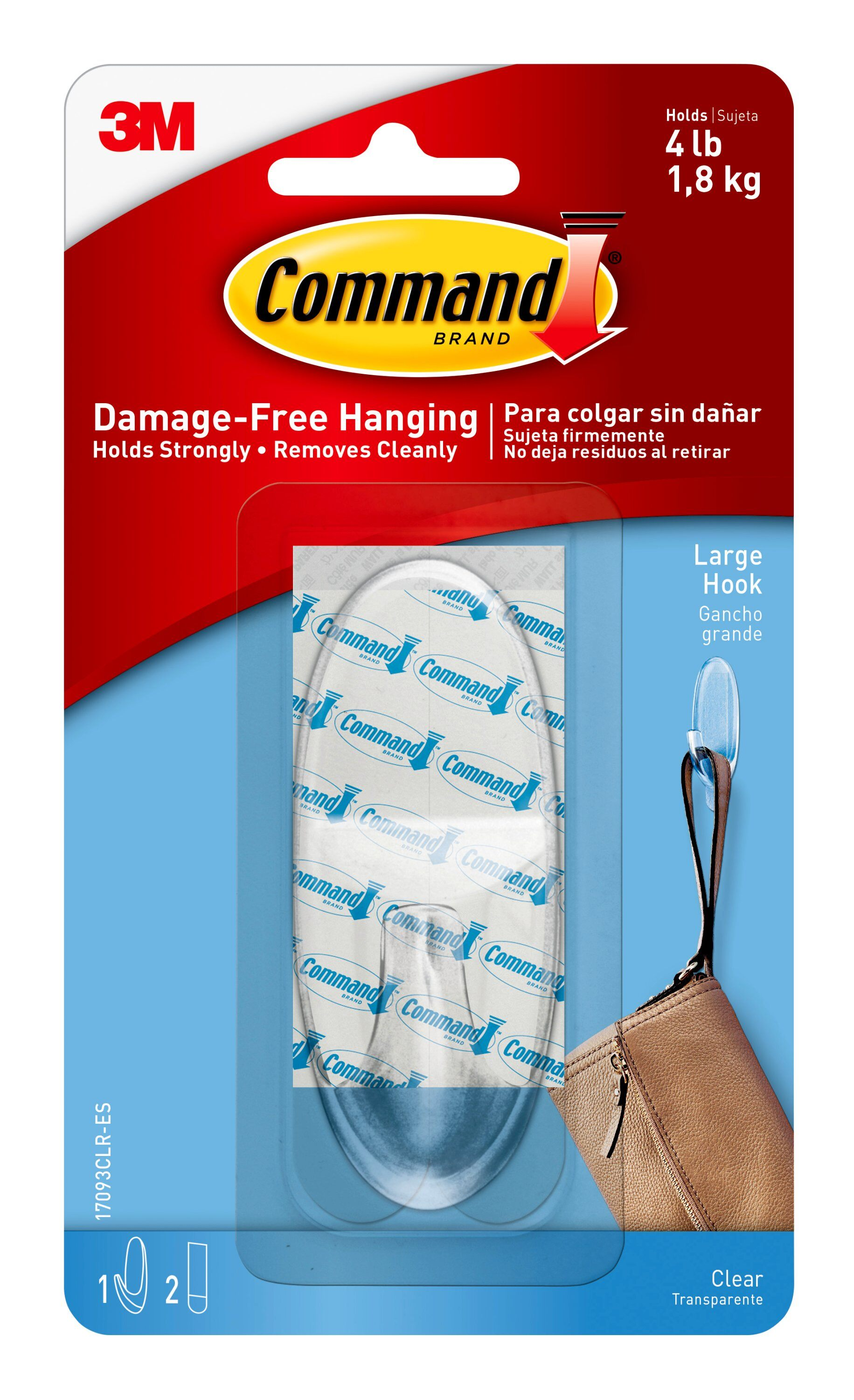 Command Clear Hook with Clear Strips Value Pack, Large, 3 Hooks, 4 Strips/Pack