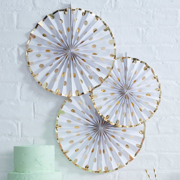 3ct Ginger Ray Gold Foiled Polka Dot Paper Fan Decorations Pick And Mix