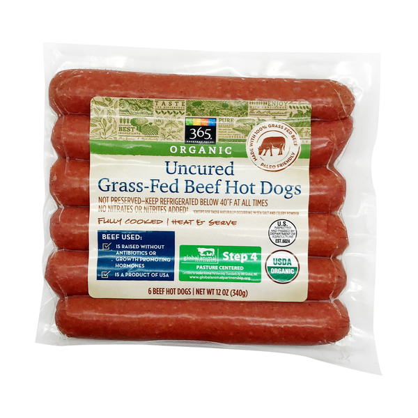 365 everyday value® Organic Uncured Beef Hot Dogs, 12 oz