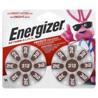 Energizer Hearing Aid Batteries 312 Long Tabs - 16 ct