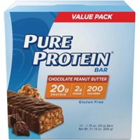 Pure Protein® High Protein Bar Chocolate Peanut Butter 1.76-Ounce Bar (Pack of 12), Protein Bars, 20 Grams of Protein, Gluten Free
