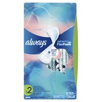 ALWAYS Infinity, Size 2, Super Sanitary Pads Non-Wings, Unscented, 32 Count
