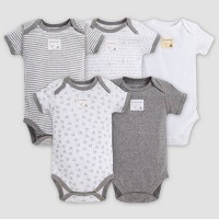 Burt's Bees Baby® Organic Cotton 5pk Short Sleeve Bodysuit Set - Heather Gray