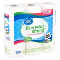 Great Value Everyday Strong Printed Paper Towels, 3 Big Rolls