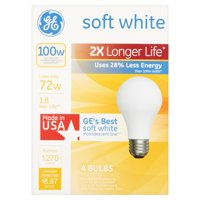 GE Halogen 72W General Purpose 2x Life Soft White 4pk