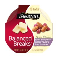 Sargento® Balanced Breaks®, Natural White Cheddar Cheese, Sea-Salted Roasted Almonds and Dried Cranberries, 3-Pack