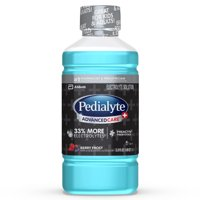 Pedialyte AdvancedCare Plus Electrolyte Drink with 33% More Electrolytes and has PreActiv Prebiotics, Berry Frost, 1 Liter