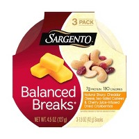 Sargento Balanced Breaks Sharp Cheddar-Sea Salted Cashews & Cherry Juice Infused Dried Cranberries - 3pk/1.5oz
