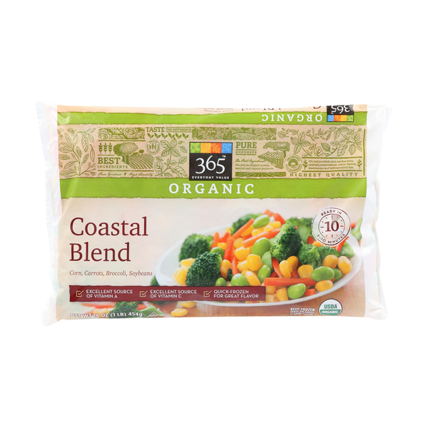 365 everyday value® Organic Corn, Carrots, Broccoli, Soybeans Frozen Coastal Blend, 16 oz