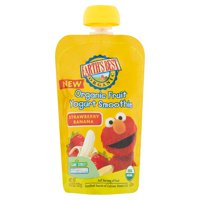 Earth's Best Organic Sesame Street, Strawberry Banana Toddler Fruit Yogurt Smoothie, 4.2 oz. Pouch