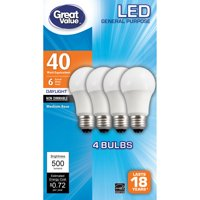 Great Value LED Light Bulb, 6W (40W Equivalent) A19 General Purpose Lamp E26 Medium Base, Non-dimmable, Daylight, 4-Pack