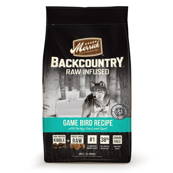 Merrick Backcountry Raw Infused Game Bird Recipe With Turkey, Duck And Quail Natural Dry Food For Dogs