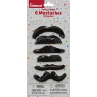 Black Fake Mustaches, 6 ct