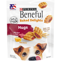 Purina Beneful Dog Treats, Baked Delights Hugs With Real Beef & Cheese - 19.5 oz. Pouch