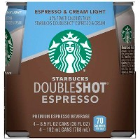 Starbucks Doubleshot Espresso Light Premium Coffee Drink - 4pk/6.5 fl oz Cans