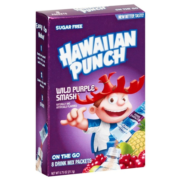 Hawaiian Punch Drink Mix, Sugar Free, Wild Purple Smash, On The Go