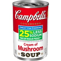 Campbell's Condensed 25% Less Sodium Cream of Mushroom Soup, 10.5 oz. Can
