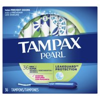TAMPAX Pearl, Super, Plastic Tampons, Scented, 36 Count