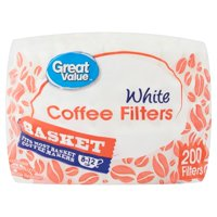 Great Value White Basket Coffee Filters, 200 count