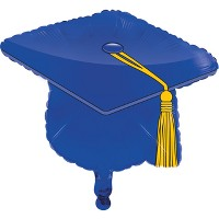 Blue Graduation Cap Mylar Balloon