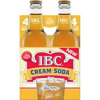 IBC Cream Soda Made with Sugar, 12 Fl Oz Glass Bottles, 4 Count