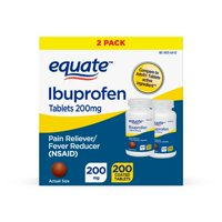 Equate Ibuprofen Coated Tablets 200 mg 100 Ct, 2 Pack