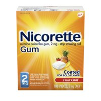 Nicorette Nicotine Coated Gum to Stop Smoking, 2mg, Fruit Chill Flavor - 100 Count