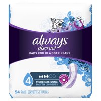 Always Discreet Women's Incontinence Pads, Moderate Absorbency, Long Length, 54 Count