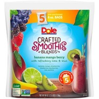 Dole Crafted Blend Mixed Berry with Lime Frozen Smoothie Packs - 5ct/40oz
