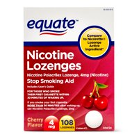 Equate Nicotine Lozenges, Cherry Flavor, 4 mg, 108 Count