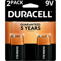Duracell Coppertop Alkaline 9V Batteries 2 Pack