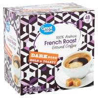 Great Value 100% Arabica French Roast Ground Coffee, 16.7 oz, 48 Count