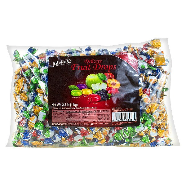 Colombina Delicate Fruit Drops Mini Assorted Flavors Fruit Filled Hard Candies - 35.2oz