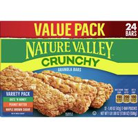 Nature Valley Granola Bars, Crunchy, Variety Pack of Oats 'n Honey, Peanut Butter, Maple Brown Sugar