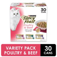 (30 Pack) Fancy Feast Gravy Wet Cat Food Variety Pack, Poultry & Beef Grilled Collection, 3 oz. Cans