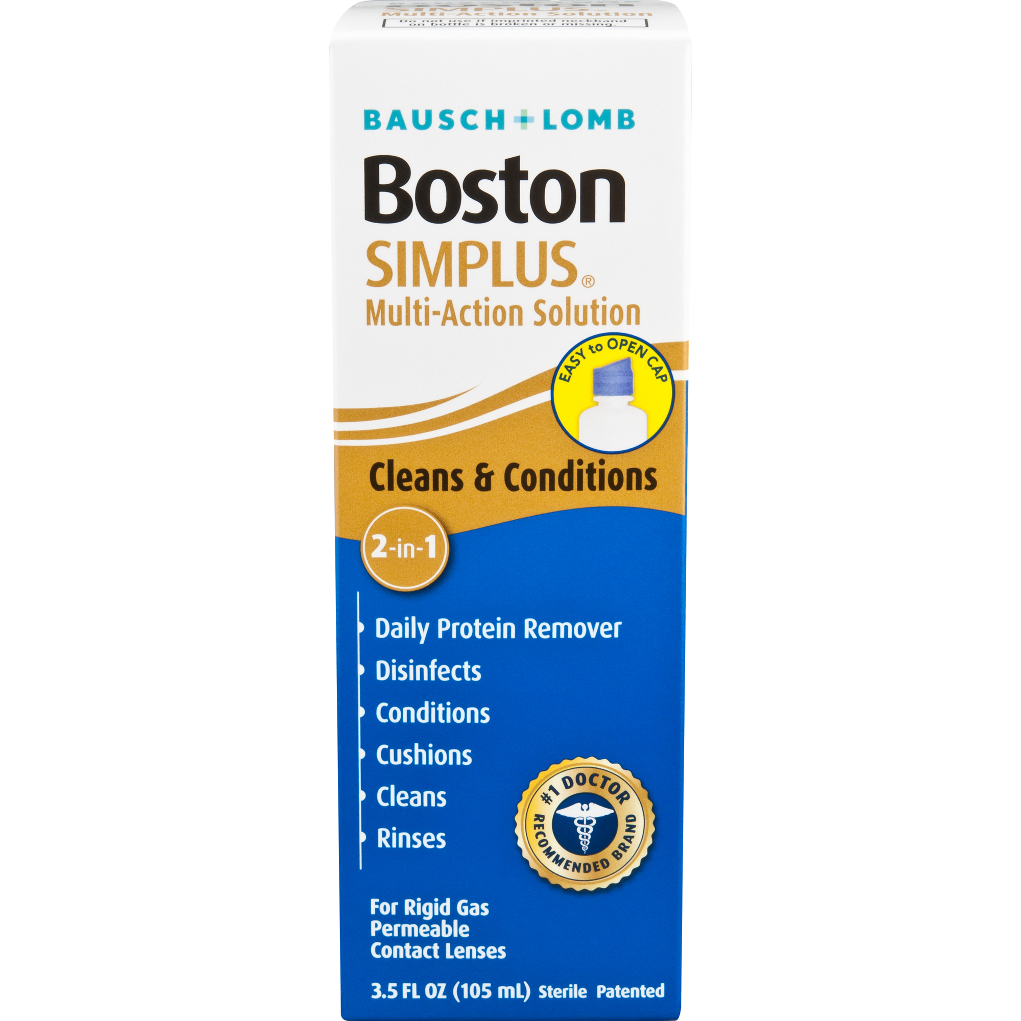 Bausch & Lomb Boston Multi-Action Solution with Daily Protein Remover Simplus, 3.5 fl oz