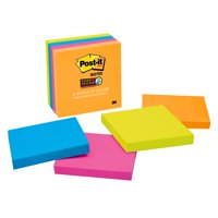 Post-it Super Sticky Notes 4 Pack, 3in. x 3in. Miami Collection