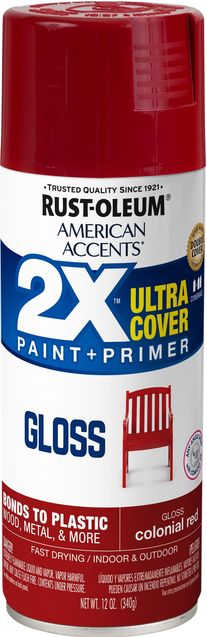 (3 Pack) Rust-Oleum American Accents Ultra Cover 2X Gloss Colonial Red Spray Paint and Primer in 1, 12 oz