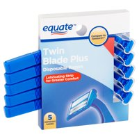 Equate Twin Blade Plus Disposable Razors, 5 count