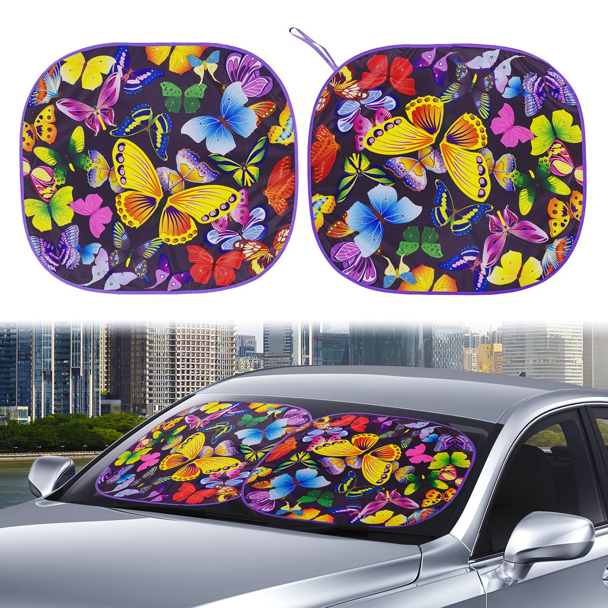 Auto Drive 2 Count Universal Multicolor Butterfly Twist Sunshade Product Size 28.5'' x 31.5''