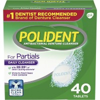 Polident Antibacterial Unflavoured Denture Cleaner - 40ct