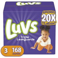 Luvs Triple Leakguards Extra Absorbent Diapers, Size 3, 168 Ct
