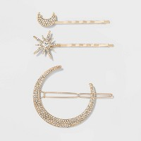 Moon and Star Crystal Hair Clips - A New Day™ Gold